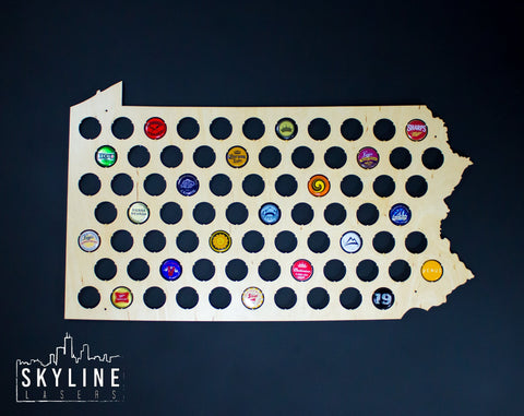 Pennsylvania State Beer Cap Map