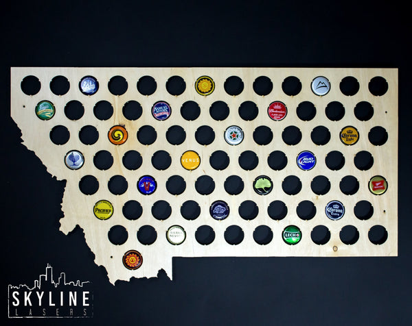 Montana State Beer Cap Map