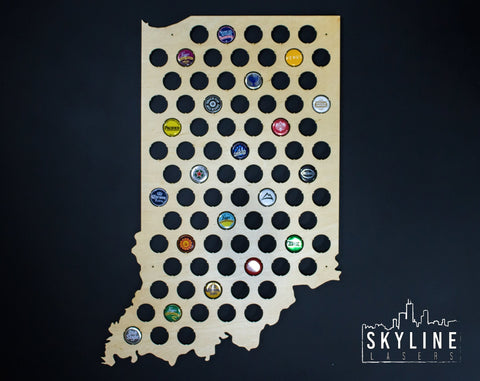 Indiana State Beer Cap Map