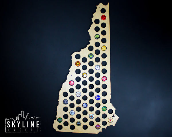 New Hampshire State Beer Cap Map