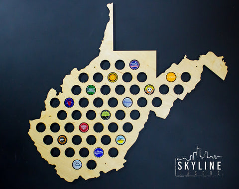 West Virginia State Beer Cap Map