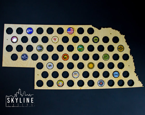 Nebraska State Beer Cap Map