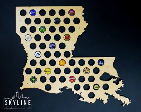 Louisiana State Beer Cap Map