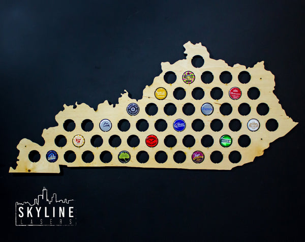 Kentucky State Beer Cap Map