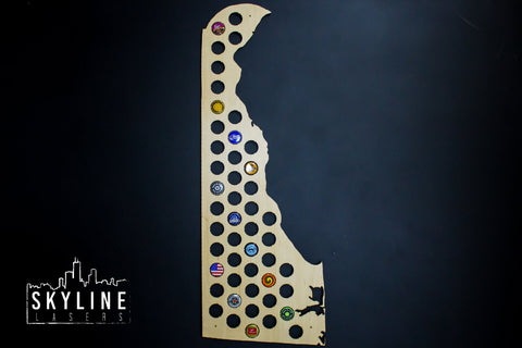 Delaware State Beer Cap Map
