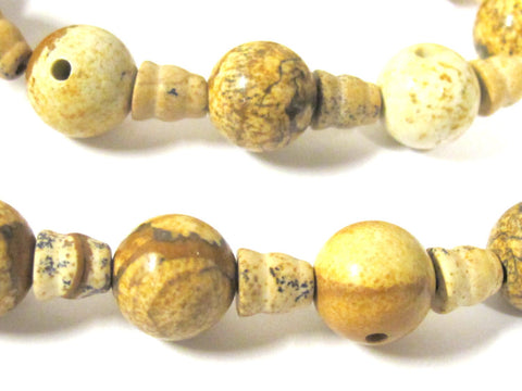 1 Guru Bead set - 3 hole picture Jasper  gemstone Guru column Bead set 12 mm size - GB051