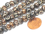 50 bone beads -  Tibetan carved circles dotted brown  color  bone beads 8 mm size mala making bead supplies - ML105C