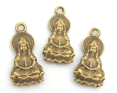 4 pieces-  Reversible Brass tone Seated on lotus meditation Buddha charm pendants 25mm x 13mm -  CM012