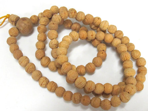 108 beads -  Light brown tan color small natural Bodhi seed beads mala with guru bead from Nepal - ML025