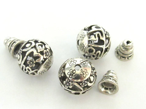 3 beads sets - Tibetan silver 2 hole round Om mantra  Guru bead 14 mm size with cone shape column bead - BD600D