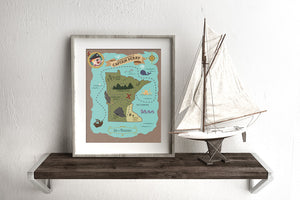 Minnesota State Custom Pirate Treasure Map Print