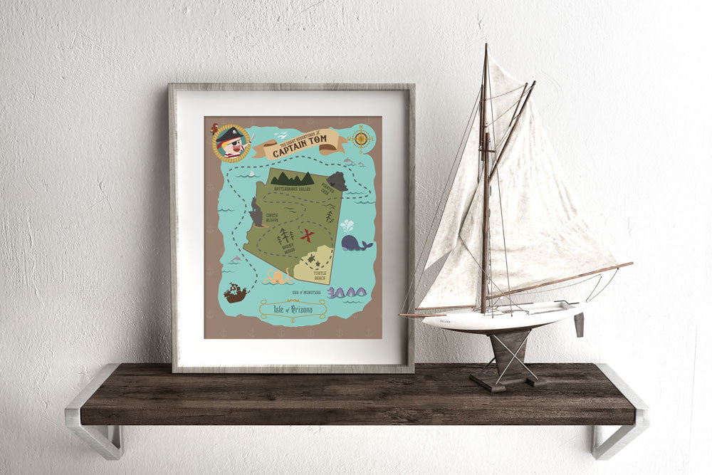 Arizona State Custom Pirate Treasure Map Print