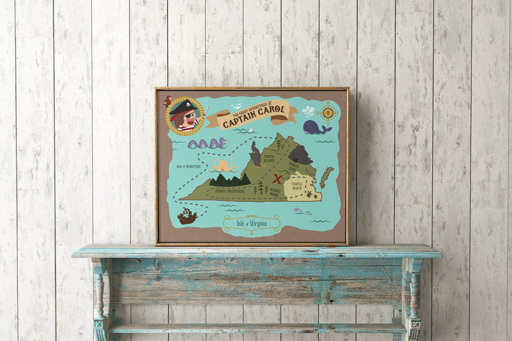 Virginia State Custom Pirate Treasure Map Print