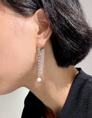 Project - Teardrops of the moon - Fluid chain earrings with pearl