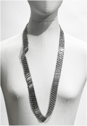 Interwoven metal plates long neck-piece