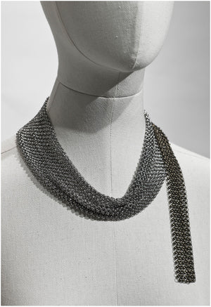 Drapery metal fabric neck-piece