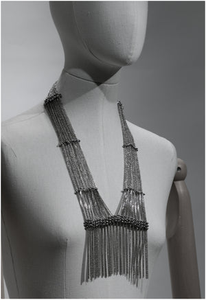 Fringed center neck-piece