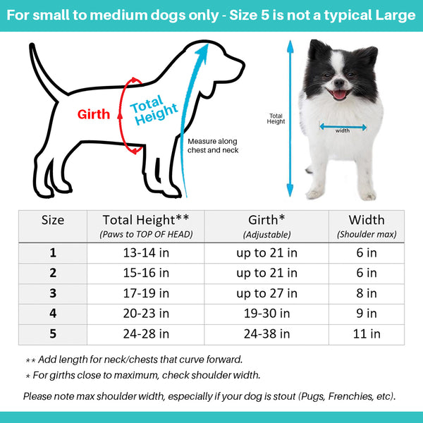 Pandaloon Teddy Bear Costumes for Dogs and Cats Size Chart