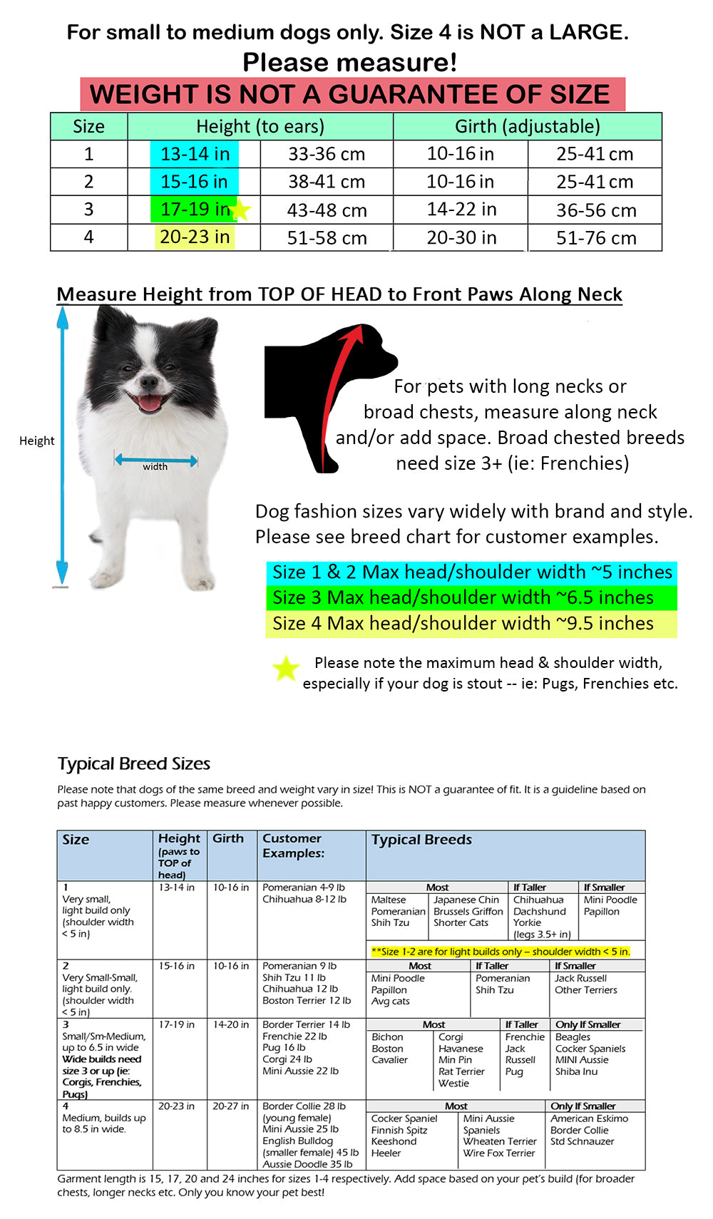 Pandaloon size chart and dog breed list with examples of customer sizes
