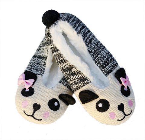 Knitted Panda Ballet Slippers with Furry Lining