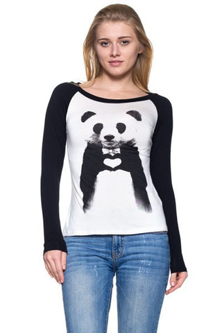 Women's Panda Heart Selfie Printed Long Sleeve Shirt - Pandaloon
