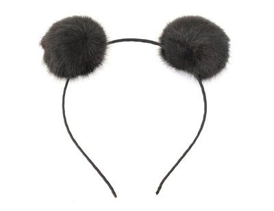 Faux Fur Pom Poms Puff Animal Ear Headband - Pandaloon