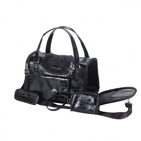 Black Faux Crocodile Dog Carrier Purse Bag with Shoulder Strap - Pandaloon