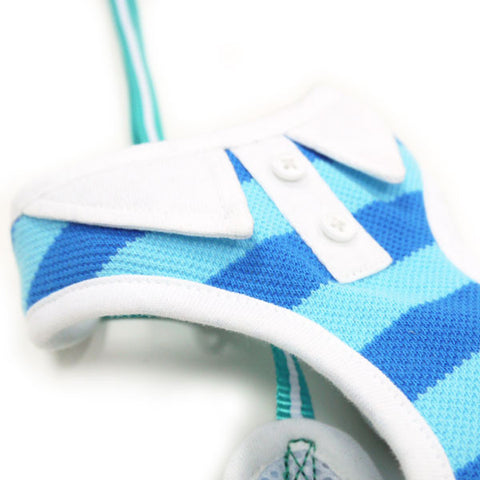 Polo Shirt Dog Harness Blue - Pandaloon