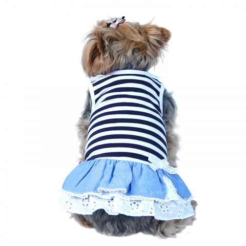 Striped Jean Denim Ruffle Dog Dress - Pandaloon
