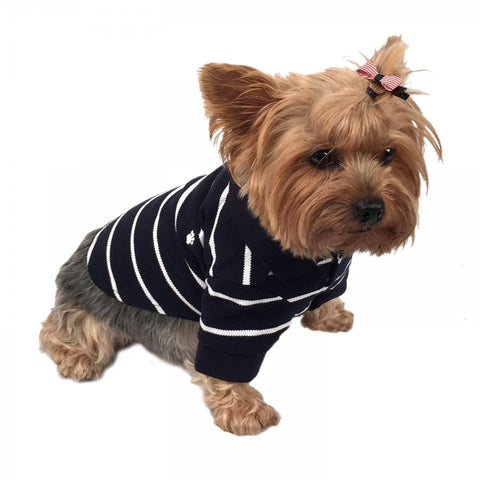 Navy Dog Polo Shirt with White Stripes - Pandaloon