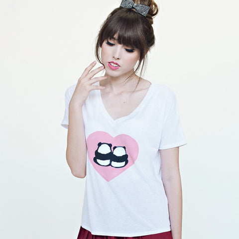 Steppie Panda Bums in Love V-Neck - Pandaloon