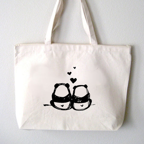 panda bums canvas tote bag steppie clothing