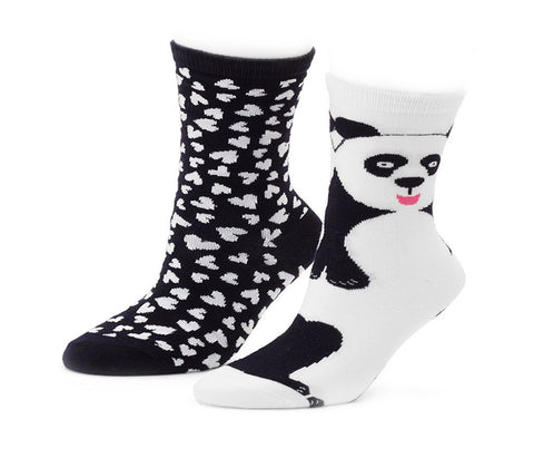 Panda and Heart Crew Socks 2 Pairs