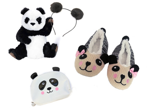 Panda Slipper, Stuffed Animal, Pouf Headband and Make Up Bag Gift Set
