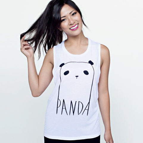 white panda t shirt muscle tank steppie