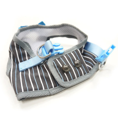 Dapper Blue Bowtie and Pinstripe Vest Step In Harness - Pandaloon