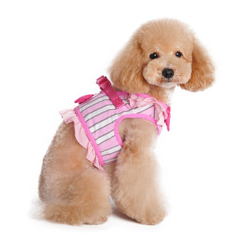 Pink Ruffle Bow Step In Harness - Pandaloon