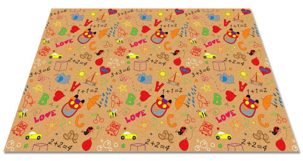 Playtime Doodle Wall to Wall Carpet Multi on Tan - KidCarpet.com