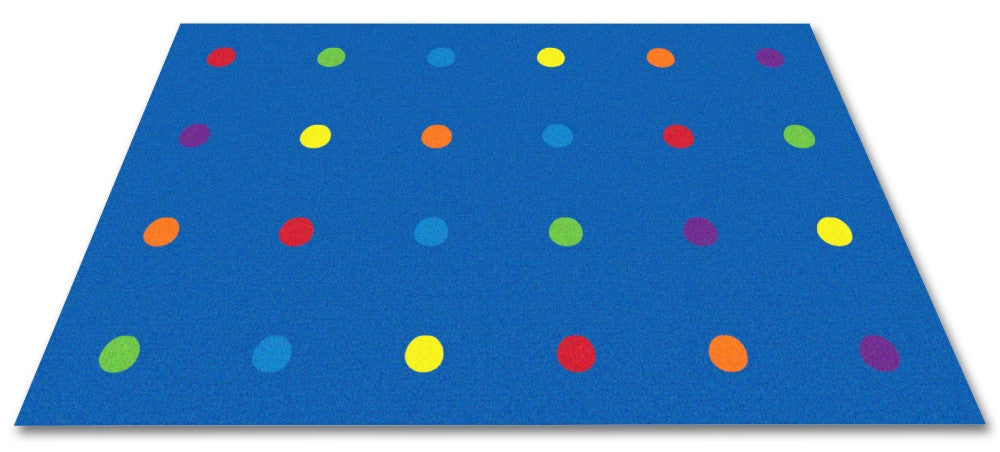 Dots In A Row Wall to Wall Carpet Multi on Blue - KidCarpet.com