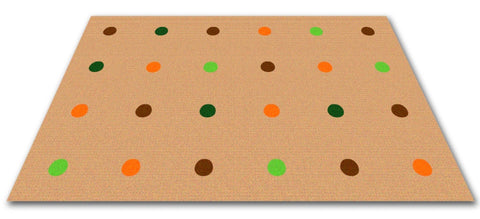 Dots In A Row Wall to Wall Carpet Jungle Colors on Tan