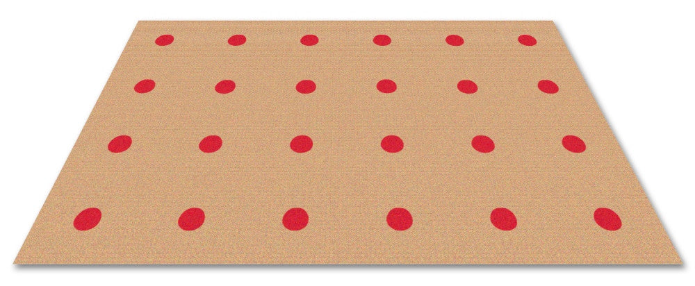 Dots In A Row Wall to Wall Carpet Red on Tan - KidCarpet.com