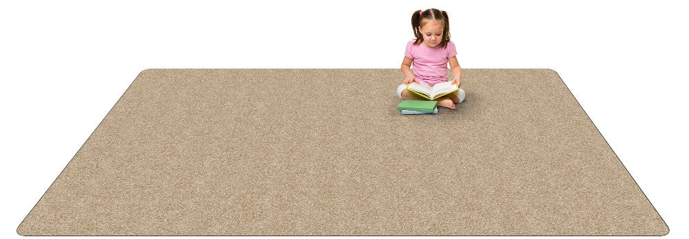 Kid-tastic Solid 30 oz. Almond Kids Rug
