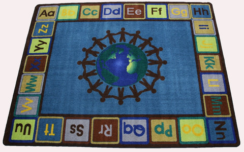 Alpha World Classroom Rug With EARTH TONE Colors