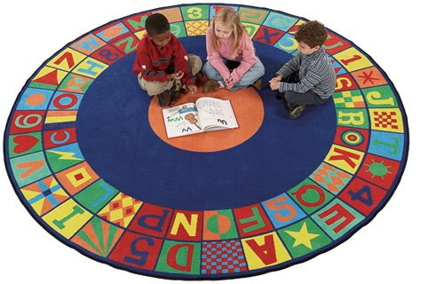 Floors That Teach Round School Rug - KidCarpet.com