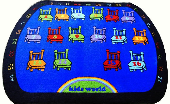 Chairs Classroom Rug With 16 Seats - KidCarpet.com