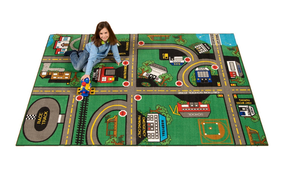 REVERSIBLE Our Town / Kids Game Rug - KidCarpet.com