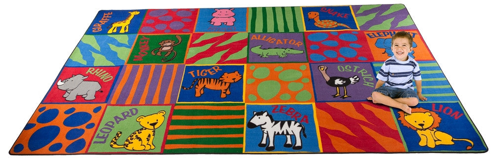 Animal Squares School Rug - KidCarpet.com