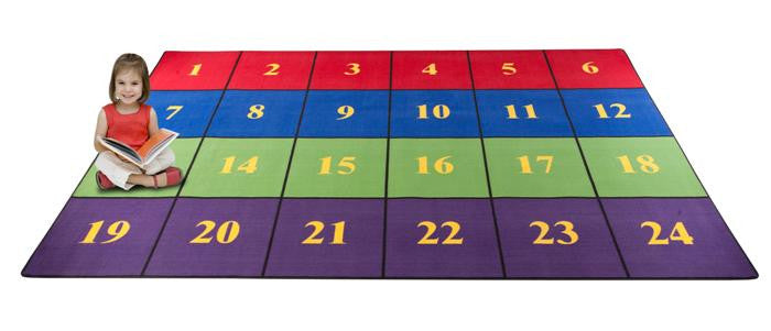 classroom seating rug with 24 squares bright