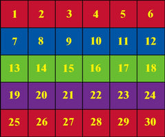 Classroom Seating Rug With 30 Squares BRIGHT