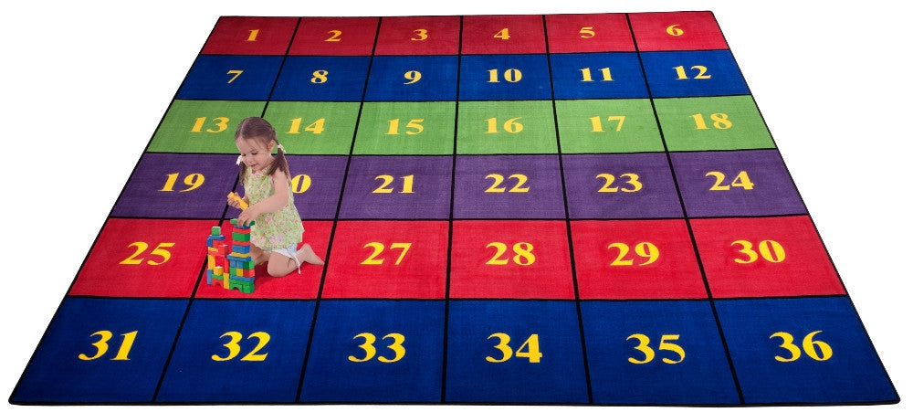 Classroom Seating Rug With 36 Squares BRIGHT - KidCarpet.com